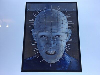 Hand Painted Kiln Fired Stained Glass Hellraiser Pinhead portrait.