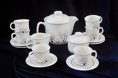 Vintage P T Tulowice Pottery Poland Coffee Set for 6 - Black Tree - Never Used