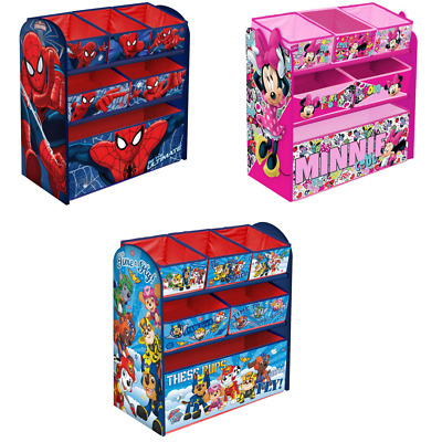 Mickey / Minnie / Paw Patrol / Spiderman Kids Wooden Toy Box Organiser Storage