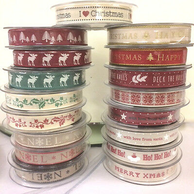Christmas Ribbon Large Selection of Berisfords Ribbons/Natural Charms 20M Rolls