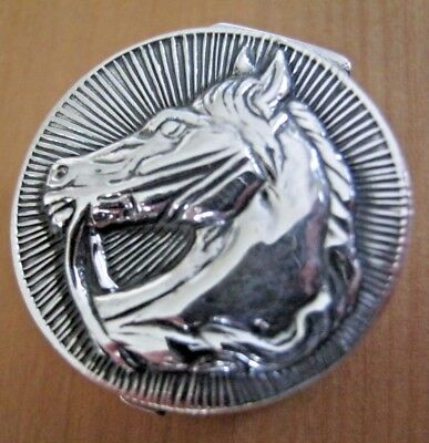 A Pretty Hallmarked Solid Sterling Silver Horse Hunting Racing Box Snuff Pill