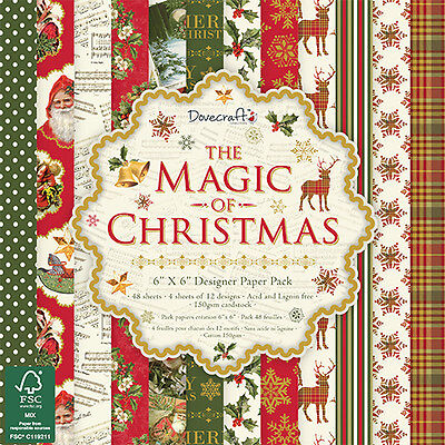 "Dovecraft 6"" x 6"" THE MAGIC OF CHRISTMAS 150gsm Patterned Craft Paper-12 Sheets"