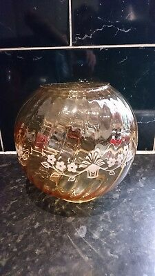 "Vintage Antique Smoked Patterd Bowl Oil Lamp Shade 4""fitting"
