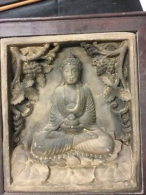 Indian A Gray Sandstone Figure Of A Seated Buddha Antique