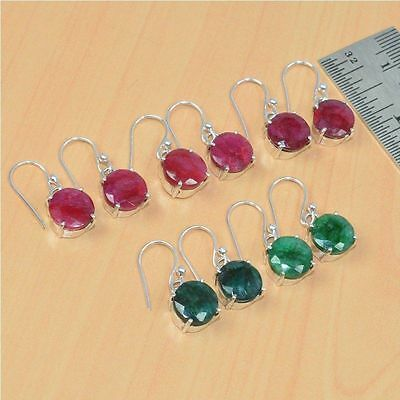 925 Solid Sterling Silver Wholesale 5 Pair Natural Faceted Ruby Earring Lott