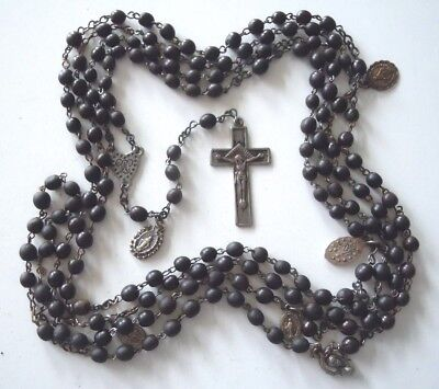 † NUN Antique 15-Decade Black Seed Wooden Beads Rosary - MIRACULOUS Devotion †