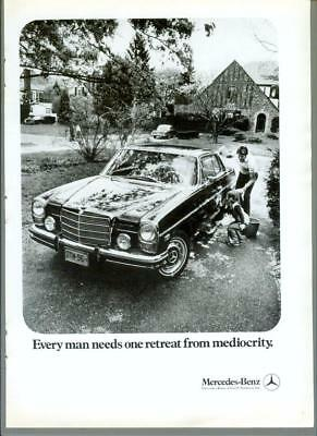 1972 Mercedes Benz Retreat from Mediocrity Vintage Print Ad Advertisement 1970s
