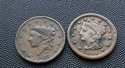 1837 and 1854 United States one cent coins
