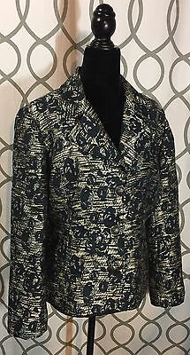 Women's CHICO'S Floral Blazer- Black & White- Size 1/ MEDIUM