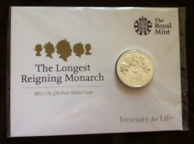 2015 Silver £20 Coin Longest Reigning Monarch As Issued By The Royal Mint Uk