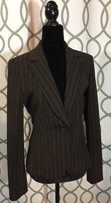 Tahari Women's Brown Striped Blazer- Size 6