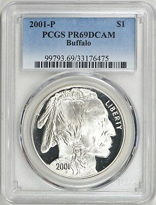 2001-P  BUFFALO SILVER DOLLAR - Commemorative Coin PR69DCAM PCGS