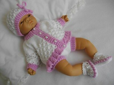 "Dainty Doll Designs - Hand Knitted Set To Fit An 18"" Baby Doll/reborn"