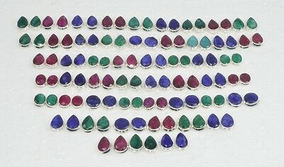 Wholesale 51Pair 925 Silver Plated Faceted Red Ruby & Mix Stone Stud Earring Lot