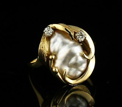 Vintage Estate Genuine Baroque South Sea Pearl & Diamond Solid 14K Gold Ring