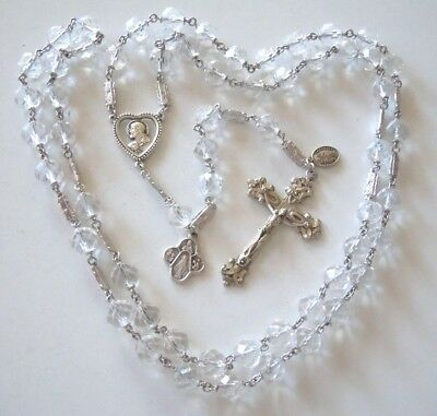 † Antique GLORIA ROCK CRYSTAL Beads & STERLING SILVER Rosary †