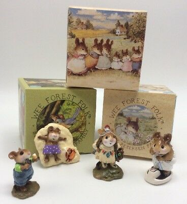 Wee Forest Folk By Petersen Family 4 Piece Mouse Collection In Original Boxs