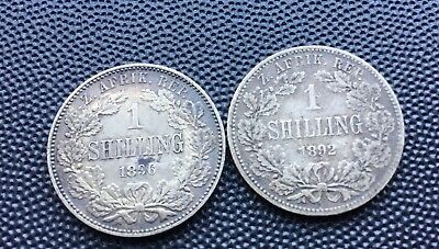 1892 and 1896 South Africa shilling coins