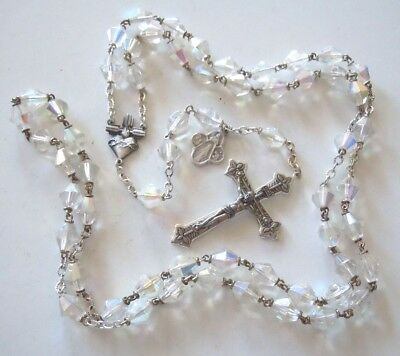 † Antique Iridescent CRYSTAL Glass Beads & Silver-plated Assembly Rosary †