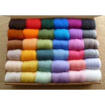 UK 36 Colours Pure Fibre Wool Roving Needle Felting Sewing Trimming DIY Craft