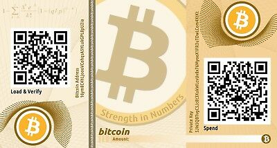 .01 BITCOIN (BTC) Virtual Currency Loaded in Paper Wallet Trusted USA Seller