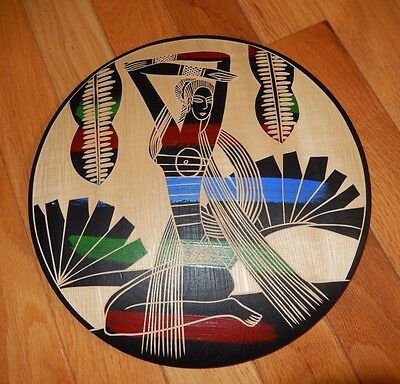 "African Egyptian Tribal Unique Beautiful Colorful Wooden Art Plaque 9.75"" Round"