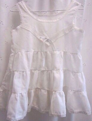 Vintage child's Slip - white - gathered lace trim