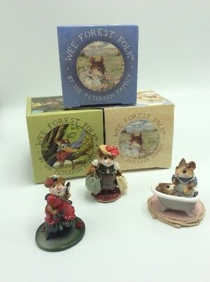 Wee Forest Folk By Petersen Family 3 Piece Mouse Collection In Original Boxes