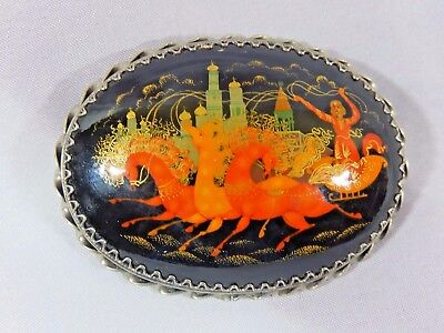 Vtg Signed Russian Artist Hand Painted Wood Horse Drawn Sled Brooch Pin Stunning