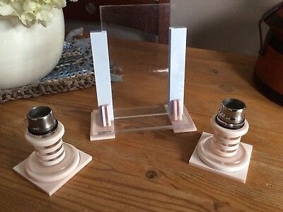 Vintage Art Deco Celluloid Candle Sticks And Matching Photo frame.