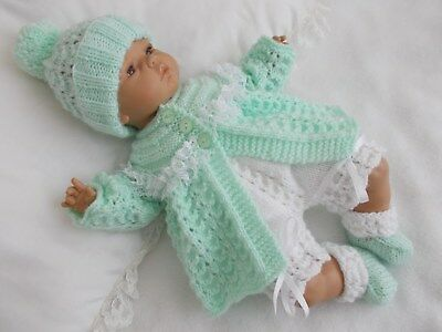 "Dainty Doll Designs - Hand Knitted Set To Fit A 16"" Baby Doll/reborn"