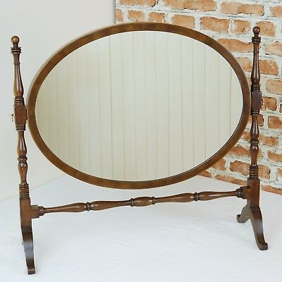 Antique Original Edwardian Turned Mahogany Oval Inlaid Dressing / Toilet Mirror