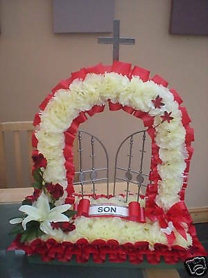 ARTIFICIAL SILK funeral flowers GATES OF HEAVEN wreath memorial tribute