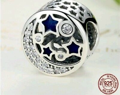 Authentic silver moon and star pandora charm