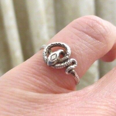 Vintage Antique Snake Eternity Ring Silver Coiled Georgian Victorian Delicate J