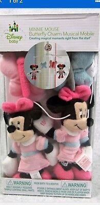 Disney Minnie Mouse Butterfly Charm Baby Crib Musical Mobile