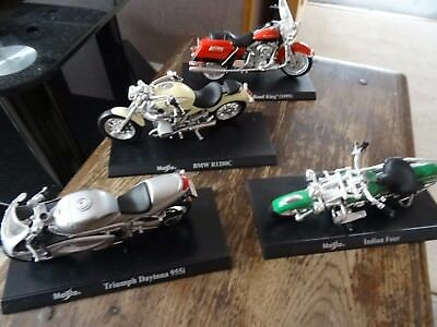 4 Maisto Models of Motorbikes, Triumph, Indian, BMW and FLHR Road King