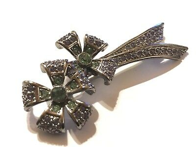 Vintage GIVENCHY Rhinestone Cabs Floral Couture Pin Brooch