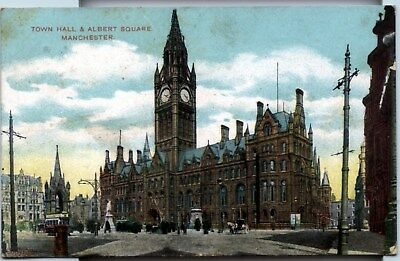 Town Hall and Albert Square, Manchester, postcard