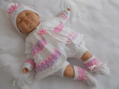 "Dainty Doll Designs - Hand Knitted Set To Fit A 20"" Baby Doll/reborn"