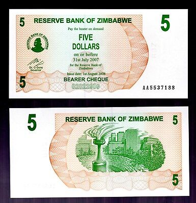 Bank Note From Zimbabwe In Africa, 1 Bearer Cheque Of $5, 2006, P-38  Unc