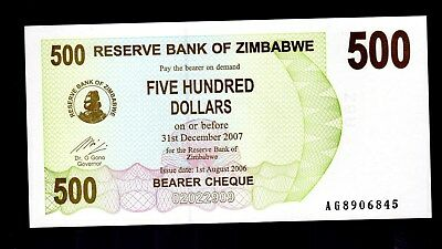 Bank Note From Zimbabwe In Africa, 1 Bearer Cheque Of $500, 2006, P-43  Unc