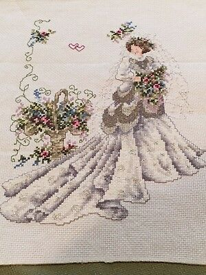 COMPLETED UNFRAMED COUNTED CROSS STITCH  ~ Bride
