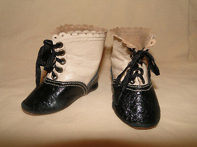 """Leather cream-black high shoes boots French Jumeau style for antique doll 3"""" 1/2"""