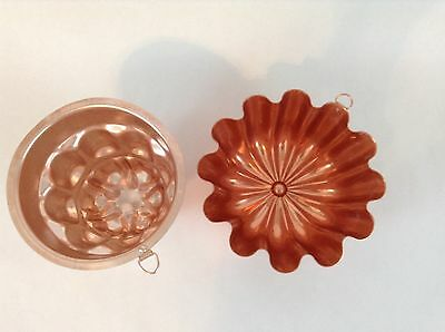 Set 2 Copper Colored Jelly Mold Flower Aspic Loops Candle Hanging Craft 3 Tier