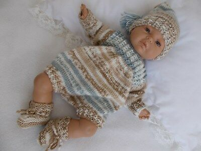 "Dainty Doll Designs - Hand Knitted Romper  Set To Fit A 16"" Baby Doll/reborn"