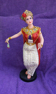 """Vintage Thai Siam Asian Dancer Doll With Gold Crown 16"""""""