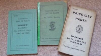 Singer Industrial Sewing Machine  Parts Books    (  3 Old Books )