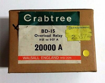 Overload Relay Crabtree 20000/A BD-15 0.25 to 0.37 amp