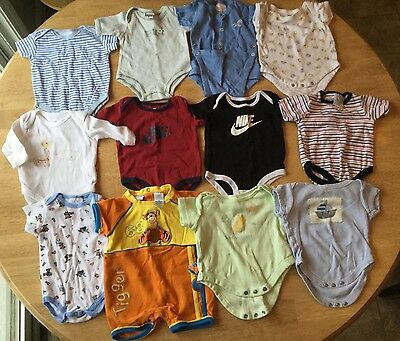 Baby Unisex Lot of 12 Sleeper Diaper Shirts (0-3 months)